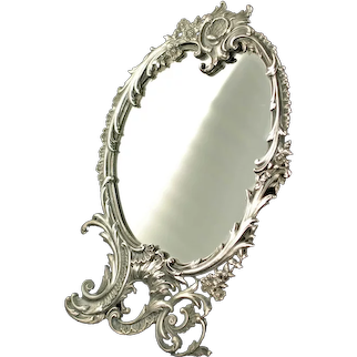 Antique Gorham Sterling Silver Rococo Footed Tabletop Mirror with Easel Back