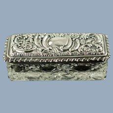 Antique Levi & Salaman Sterling Silver Lidded Cut Crystal Cane Pattern Rectangular Dresser Box