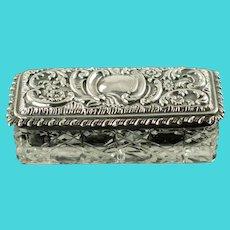 Antique Levi & Salaman Sterling Silver Lidded Cut Crystal Cane Pattern Rectangular Dresser Box