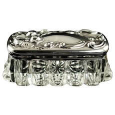 Antique Art Nouveau Sterling Silver Floral Repousse Lidded APG Rectangular Dresser Vanity Jar No Monogram