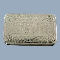 Antique George III Sterling Silver Vinaigrette with Prick Dot and Wriggle Work by Joseph Willmore