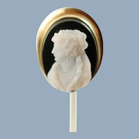 Antique 14k Yellow Gold Hand Carved Hardstone Cameo Stick Pin Brooch Tie Pin Lapel Pin