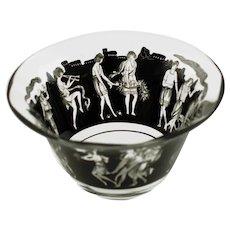 Vintage VEDAR XI Vetri d'Arte Fontana Milan Hand Enameled Bowl Procession of Baccanalian Nymphs