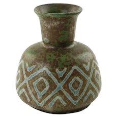 Vintage Johannes Andersen Danmark Chamotte Clay Vase with Geometric Decoration