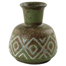 Vintage Johannes Andersen Danmark Chamotte Clay Vase with Geometric Diamond and Chevron Decoration