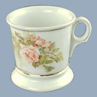 Antique Limoges Personalized Floral Shaving Mug Hand Painted Pink Roses Gold Name G Freudenberger