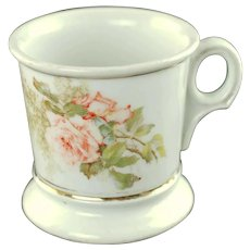 Antique Limoges Personalized Floral Shaving Mug Hand Painted Pink Roses Gold Name G Freudenberger