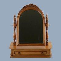 Vintage Davis Cabinet Company Lillian Russell Single Drawer Walnut Vanity Mirror Shaving Stand