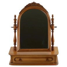 Vintage Davis Cabinet Company Lillian Russell Single Drawer Walnut Vanity Mirror Shaving Stand with Dovetailed Drawer