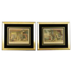 Antique Pair Hand Colored Chinoiserie Engravings in Gilded Frames William Floyd and Arthur Willmore