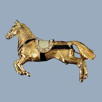 Vintage Ciner Horse Brooch Pin with Enamel and Rhinestones