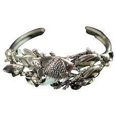 Vintage Kabana Sterling Silver Cuff Sealife Bracelet Dimensional Reef Fish