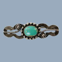Vintage Native American Natural Turquoise Sterling Silver Brooch Pin