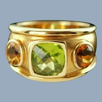 Vintage 18K Yellow Gold Ring with Peridot and Citrines