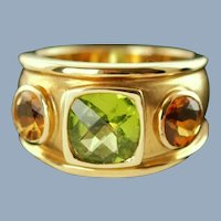 Vintage 18K Yellow Gold Ring with Peridot and Citrines by Barry Brinker
