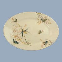 """Large Antique 19th Century Exotic Bird and Grasses English Ironstone Oval Platter Aesthetic Movement 17"""" by 12.25"""""""