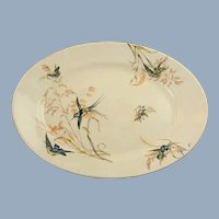 Large Antique 19th Century Exotic Bird and Grasses English Ironstone Oval Platter Aesthetic Movement