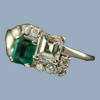 Vintage Diamond and Emerald Platinum Ring Fine Estate Jewelry