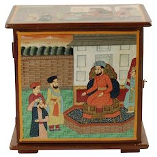 Vintage Kashmiri Mughal Court Motif Hand Painted Freestanding Tabletop 2-Shelf Cabinet Box with Brass Foldover Hasp
