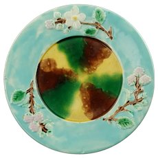 Antique Majolica Dogwood and Berry Motif Plate with Sponged Decoration