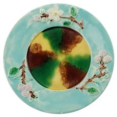 """Antique Majolica Dogwood and Berry Motif 7.75"""" Plate with Sponged Decoration"""