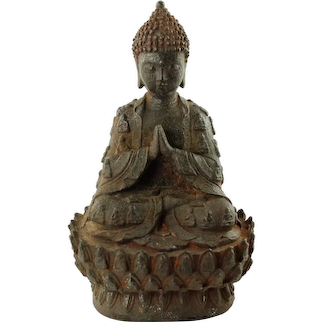 "Vintage Cast Iron Buddha Statue 11"" Tall"