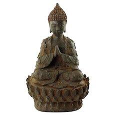 "Antique Cast Iron Buddha Statue 11"" Tall"