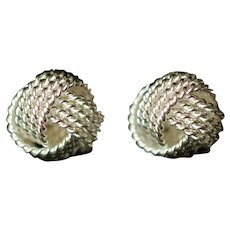 Vintage Tiffany & Company Sterling Silver Somerset Mesh Love Knot Ball Stud Earrings