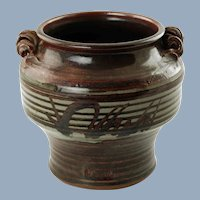 Vintage Robert Hasselle Hand Thrown Stoneware Urn Vase with Applied Spiral Handles