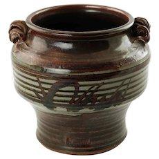 Vintage Robert Hasselle Hand Thrown Stoneware Urn Vase with Applied Spiral Handles