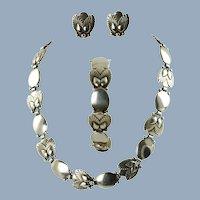 Vintage Georg Jensen Sterling Silver Link Bittersweet Demi-Parure Necklace, Bracelet and Earrings Designed by Gundorph Albertus