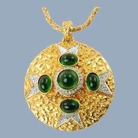 Large Vintage Kenneth Jay Lane Maltese Cross Medallion Pendant Necklace