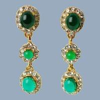 Vintage KJL Kenneth J Lane Emerald Drop Earrings Polished Green Cabochons Clear Rhinestones Runway Couture