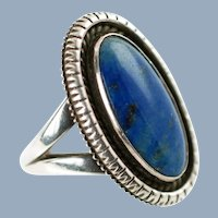 Vintage Signed Artie Yellowhorse Henry Chackee Sterling Silver Blue Denim Lapis Split Shank Ring