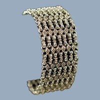 Heavy Vintage Sterling Silver Wide Chain Mail Link Cuff Bracelet with Slide Bar Clasp