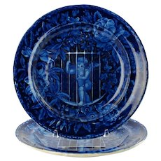 "Antique Victorian Cupid Imprisoned Enoch Wood & Sons Dark Blue Transferware 9"" Plates Set of 2"