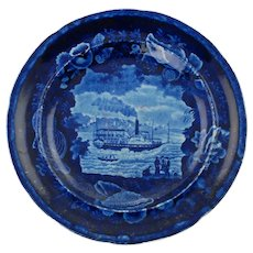 Antique Dark Blue Historical Staffordshire Union Line Plate with Shell Border by Enoch Wood