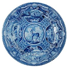 "Antique Quadruped Series Tibetan Musk Deer 10.125"" Staffordshire Dinner Plate John Hall Blue Transferware Circa 1825-1830"
