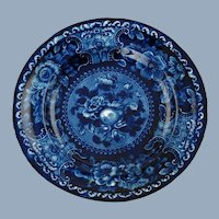 """Antique Early 19th Century Stubbs and Kent Longport Dark Blue Staffordshire 7.5"""" Plate Fruit and Flowers Pear Motif"""