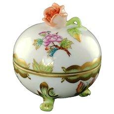 Vintage Herend Queen Victoria Rose Knob Footed Bonbonniere Trinket Box