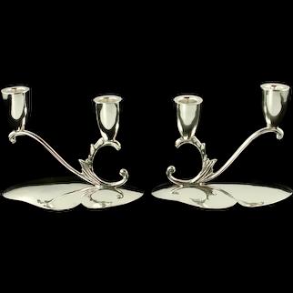 Vintage Juventino Lopez Reyes JLR Sterling Silver 2 Light Candleholders