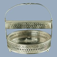 Antique Sterling Silver Sugar Cube Server with ABP Cut Glass Bonbon Jam Dish Insert Schmitz, Moore and Co