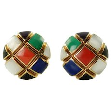 Vintage Asch Grossbardt 14K Yellow Gold Inlaid Gemstone Checkerboard Earrings Mother of Pearl Lapis Coral Onyx Malachite