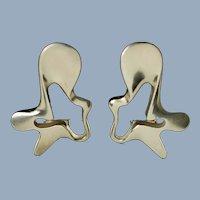 Vintage Georg Jensen Sterling Silver Splash Earclips Design 118 by Henning Koppel