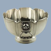 Antique George V Crichton Brothers Sterling Silver Montieth Bowl with Lion Mask Neoclassical Dolphin Handles