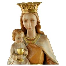 Vintage Hand Carved Wooden Mussner Giacomo Vincenzo Polychrome Madonna and Child Statue
