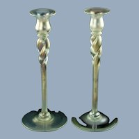 "Vintage Steuben Verre de Soie Twist Stem 12"" Art Glass Candlesticks"