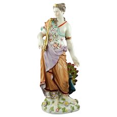 Antique Neoclassical Potschappel Dresden Carl Thieme Porcelain Figural Group Hera and the Peacock
