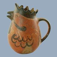 Vintage Rooster Motif Pitcher John Meinhart Alley Stoneware Pottery