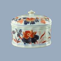 Vintage Vista Alegre Imari Porcelain Lidded Oval Bonbonnière Candy Box Chinoiserie Decor